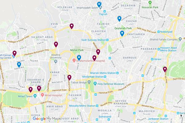 نقشه بیلبوردهای پیشنهادی